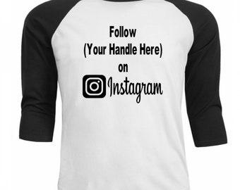 Social Media Instagram Follow # Hashtag @ Twitter Snapchat Funny Comedy Baseball Raglan 3/4 Sleeve T Shirt Unisex Clothes Merch Massacre