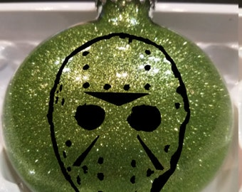 Friday the 13th Jason Voorhees Slasher Camp Killer Eighties Haunted Glitter Christmas Ornament Glass Disc Holiday Horror Merch Massacre