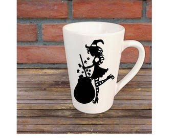 Cute Witch Cauldron Mug Coffee Cup Halloween Gift Home Decor Kitchen Bar Gift for Her Him Any Color Personalized Custom Merch Massacre