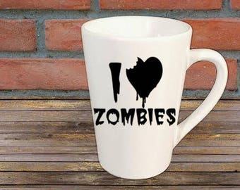 I Love Zombies Walking Dead Mug Coffee Cup Halloween Gift Home Decor Bar Gift for Her Him Any Color Personalized Custom Merch Massacre