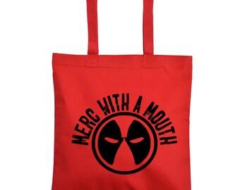 Deadpool Merc With a Mouth Comic Book Books Dead Pool Superhero Tote Bag Grocery Reusable Halloween Merch Massacre Black Friday Christmas