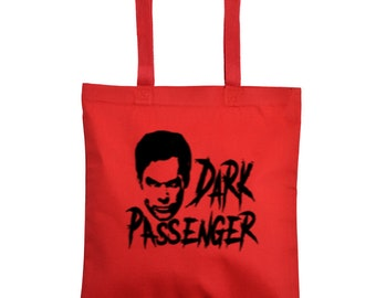 Dexter Dark Passenger Horror Canvas Tote Bag Market Pouch Grocery Reusable Halloween Merch Massacre Black Friday Christmas