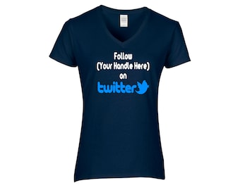 Social Media Twitter Hashtag # Follow @ Instagram Snapchat Funny Comedy LOL Ladies V Neck T Shirt Clothes Size Colors Custom Merch Massacre