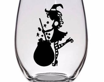 Cute Witch Cauldron Drinking Horror Pint Wine Glass Tumbler Alcohol Drink Cup Barware Halloween Scary