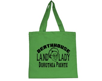 Dorothea Puente Serial Killer True Crime Deat House Land Lady Funny LOL Horror Canvas Tote Bag Grocery Merch Massacre Black Friday Christmas