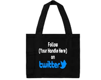 Social Media Twitter Hashtag Follow # @ Instagram Snapchat Custom Funny Canvas Tote Bag Market Pouch Merch Massacre Black Friday Christmas