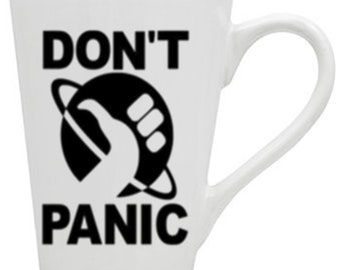 Hitchhiker's Guide to the Galaxy Don't Panic Mug Coffee Cup Gift Home Decor Kitchen Bar Gift for Her Him Any Color Custom Merch Massacre
