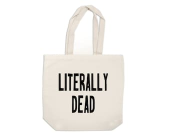 Literally Dead Funny Halloween Horror Canvas Tote Bag Market Pouch Grocery Reusable Merch Massacre Black Friday Christmas