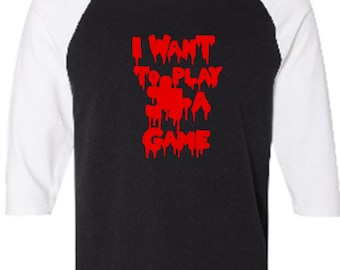 7eaa3dbe Saw Jigsaw I Want to Play a Game Killer Slasher Movie Baseball Raglan 3/4  Sleeve T Shirt Unisex Clothes Horror Halloween Merch Massacre