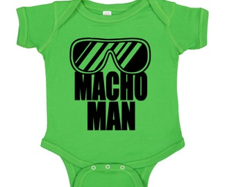 Macho Man Randy Savage Wrestling Wrestler Green Kids Children Shirt Bodysuit Sizes Colors Custom Merch Massacre Horror