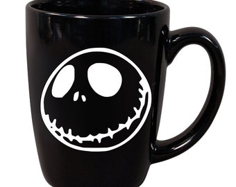 Jack Skellington Nightmare Before Christmas Horror Black Mug Coffee Cup Halloween Gift Home Decor Kitchen Bar Gift Any Color Custom