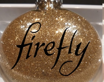 Firefly Serenity Sci Fi Science Fiction Western Brown Coat Glitter Christmas Ornament Glass Disc Holiday Horror Merch Massacre