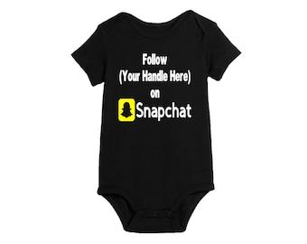Social Media Snapchat Hashtag # @ Follow Twitter Instagram Baby Infant Kids Children Shirt Bodysuit Many Sizes Colors Custom Merch Massacre
