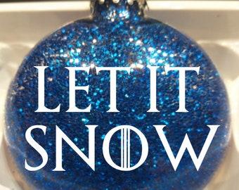 Game of Thrones GOT Let It Snow House Stark Direwolf Fantasy Adventure Glitter Christmas Ornament Glass Disc Holiday Horror Merch Massacre