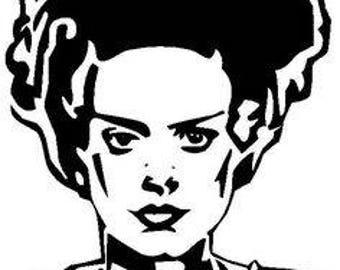 Bride of Frankenstein Monster Horror Vinyl Car Decal Bumper Window Sticker Any Color Multiple Sizes Merch Massacre