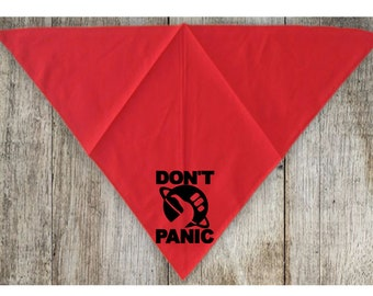 Don't Panic Hitchhikers Guide to the Universe Pet Bandana Scarf Cat Dog Clothes Horror Halloween Accessories Merch Massacre