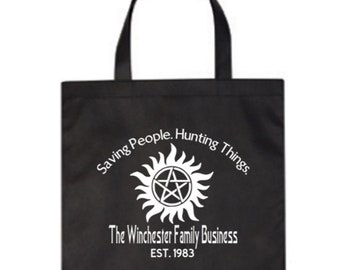 Supernatural Winchester Brothers Pentagram Horror Canvas Tote Bag Market Grocery Reusable Halloween Merch Massacre Black Friday Christmas