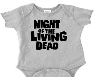 Night of the Living Dead Zombie Infant Baby Kids Children Shirt Bodysuit Many Sizes Colors Custom Horror Halloween Merch Massacre
