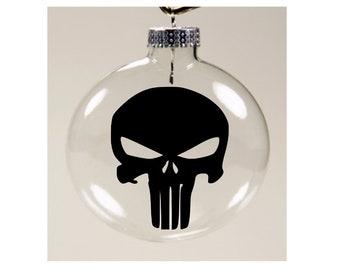 Punisher Skull Comic Book Ornament Christmas Ornament Glass Disc Holiday Horror Merch Massacre