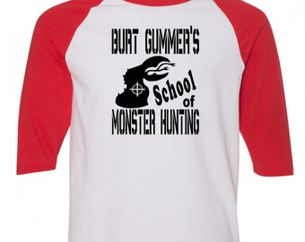 Tremors Burt Gummer Monster Hunter Graboid Graboids Sci Fi Baseball Raglan 3/4 Sleeve T Shirt Unisex Clothes Horror Halloween Merch Massacre