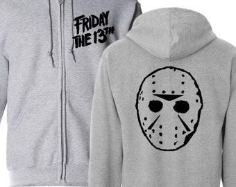 Friday the 13th Jason Voorhees Thirteenth Killer Slasher Hoodie Zip Up Hooded Sweatshirt Many Sizes Horror Halloween Merch Massacre