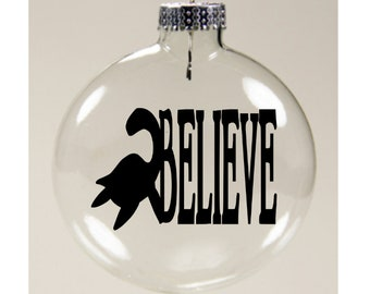 Loch Ness Monster Believe Cryptid Cryptozoology Christmas Ornament Glass Disc Holiday Horror Black Friday Merch Massacre
