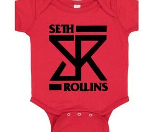 Seth Rollins Wrestling Wrestler Red Kids Children Shirt Bodysuit Sizes Colors Custom Merch Massacre Horror