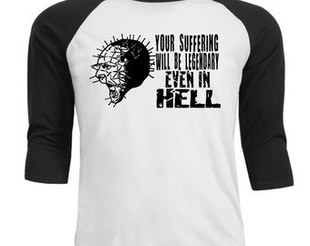 Hellraiser Pinhead Pin Head Cenobyte Clive Barker Suffering Hell Raglan 3/4 Sleeve T Shirt Unisex Clothes Horror Halloween Merch Massacre