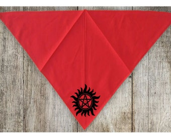 Supernatural Star Winchester Bros Sam Dean Pet Bandana Scarf Cat Dog Clothes Accessories Merch Massacre
