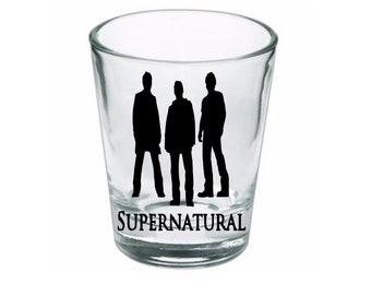 Supernatural Winchester Brothers Sam Dean Shot Glass Horror Halloween Drinking Bar Gift for Him Her Merch Massacre