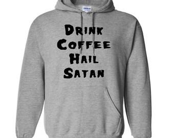 Drink Coffee Hail Satan Funny Unisex Hoodie Pullover Hooded Sweatshirt Many Sizes Horror Halloween Merch Massacre