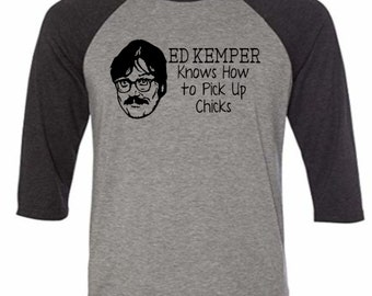 Ed Kemper Co-Ed Killer Serial Coed True Crime Funny LOL Dark Humor Baseball Raglan 3/4 Sleeve T Shirt Unisex Horror Halloween Merch Massacre