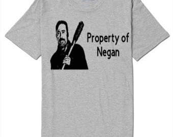 Property of Negan Zombie Walking Dead T Shirt Clothes Many Sizes Colors Custom Horror Halloween Merch Massacre