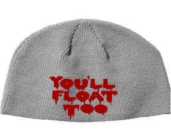 You'll Float Too IT Stephen King Pennywise the Clown Beanie Knitted Hat Cap Winter Clothes Horror Merch Massacre Christmas Black Friday