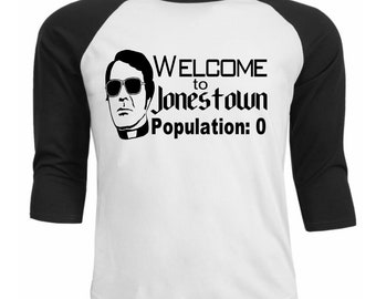 Jim Jones Jonestown Peoples Temple Suicide Cult Leader Baseball Raglan 3/4 Sleeve T Shirt Unisex Clothes Horror Halloween Merch Massacre