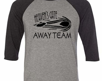 Heaven's Gate Away Team Marshall Applewhite Cult UFO Baseball Raglan 3/4 Sleeve T Shirt Unisex Clothes Horror Halloween Merch Massacre