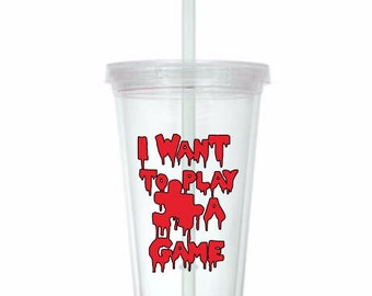 I Want to Play a Game Saw Jigsaw Horror Tumbler Cup Gift Home Decor Gift for Her Him Any Color Personalized Custom Merch Massacre