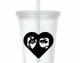Chucky Tiffany Heart Childs Play Horror Tumbler Cup Gift Home Decor Gift for Her Him Any Color Personalized Custom Merch Massacre