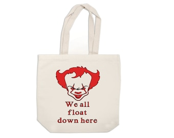We All Float Down Here Pennywise It Horror Canvas Tote Bag Market Pouch Grocery Reusable Christmas Merch Massacre