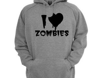 I Love Zombies Unisex Hoodie Pullover Hooded Sweatshirt Many Sizes Horror Halloween Merch Massacre