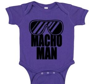 Macho Man Randy Savage Wrestling Wrestler Purple Kids Children Shirt Bodysuit Sizes Colors Custom Merch Massacre Horror
