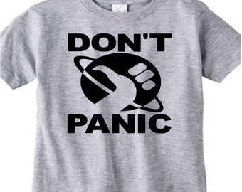 Hitchhiker's Guide to the Galaxy Don't Panic T Shirt Kids Children Toddler Many Sizes Colors Custom Horror Halloween Merch Massacre