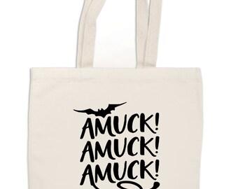 Amuck Amuck Amuck Hocus Pocus Witch Horror Canvas Tote Bag Market Pouch Grocery Reusable Halloween Merch Massacre Black Friday Christmas