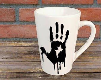 Bloody Handprint Horror Mug Coffee Cup Halloween Gift Home Decor Kitchen Bar Gift for Her Him Merch Massacre