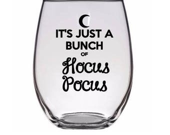 Bunch of Hocus Pocus Witch Horror Pint Wine Glass Tumbler Alcohol Drink Cup Barware Halloween Merch Massacre