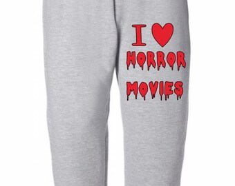 I Love Horror Movies Halloween Horror Sweatpants Lounge Pajama Comfortable Comfy Unisex Kids Youth Clothes Merch Massacre