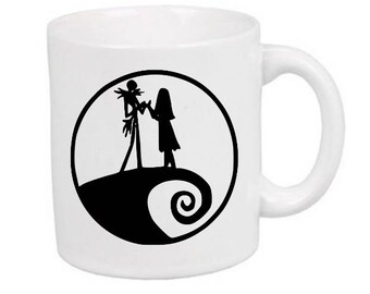 Jack Sally Nightmare Before Christmas Horror Mug Coffee Cup Gift Halloween Home Decor Kitchen Bar Gift for Her Him
