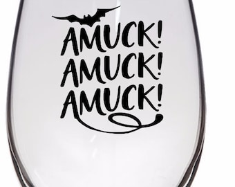Amuck Amuck Amuck Hocus Pocus Witch Horror Pint Wine Glass Tumbler Alcohol Drink Cup Barware Halloween Scary