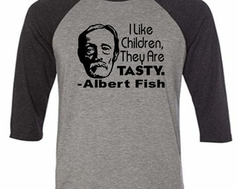Albert Fish Serial Killer True Crime Children Are Tasty Baseball Raglan 3/4 Sleeve T Shirt Unisex Clothes Horror Halloween Merch Massacre