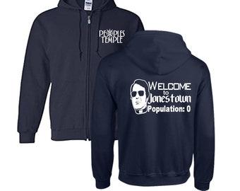 Jim Jones Jonestown Peoples Temple True Crime LOL Funny Unisex Hoodie Zip Up Hooded Sweatshirt Many Sizes Horror Halloween Merch Massacre